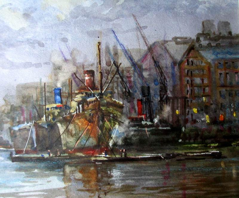 River Thames, Billingsgate, watercolour, signed Michael Crawley, c1980.