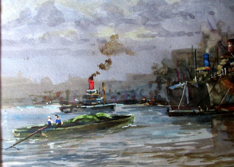 River Thames, Billingsgate, signed Michael Crawley. Detail.