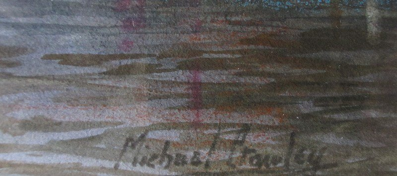 River Thames, Billingsgate, signed Michael Crawley. Signature.