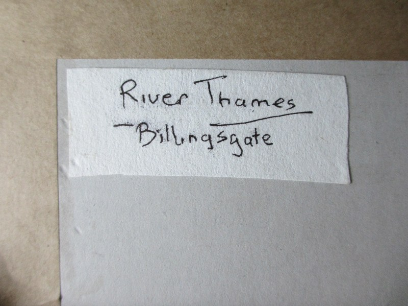 River Thames, Billingsgate, Michael Crawley. Verso, label.
