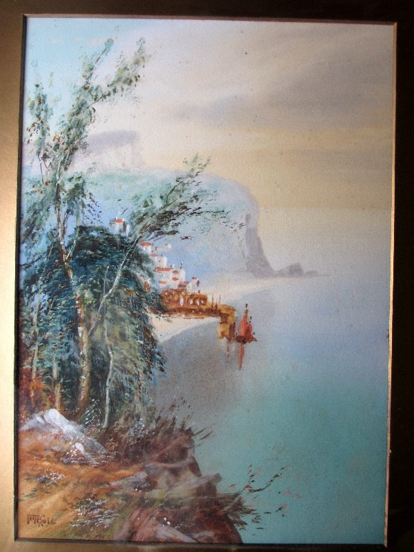 Clovelly Coast, watercolour and gouache, signed MacColl, c1900.