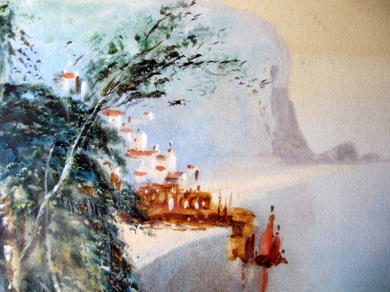 Clovelly Coast, watercolour and gouache, signed MacColl, c1900. Detail.