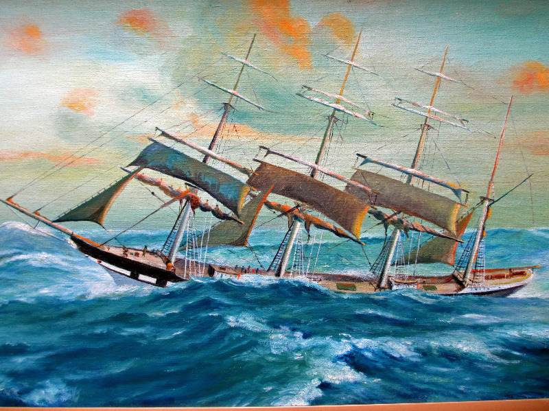 Clipper Ship in Following Sea, oil on board, signed P.E. George, c1950.