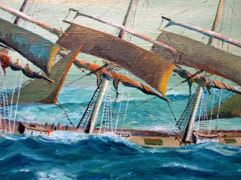 Clipper Ship in Following Sea. Detail.