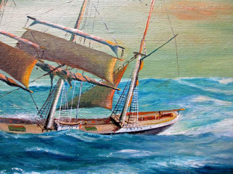 Clipper Ship in Following Sea, oil on  board, signed P.E. George, c1950. Detail.