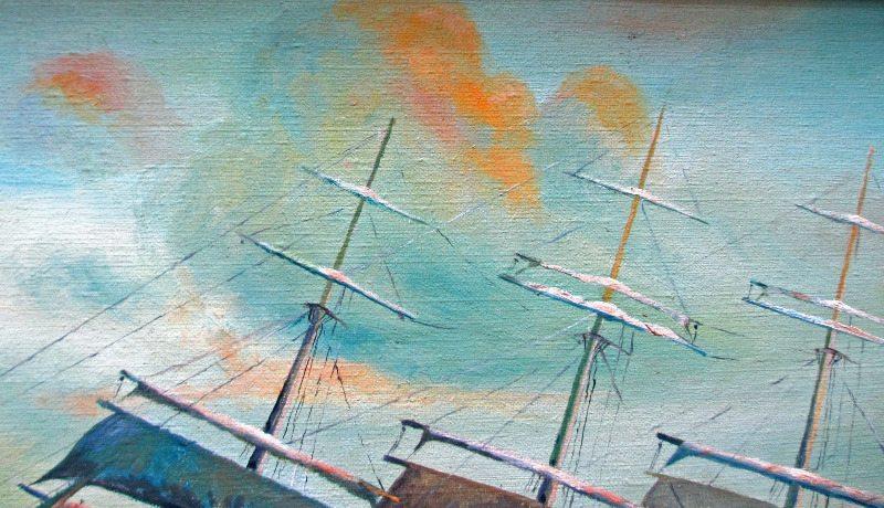 Clipper Ship. Detail clouds.