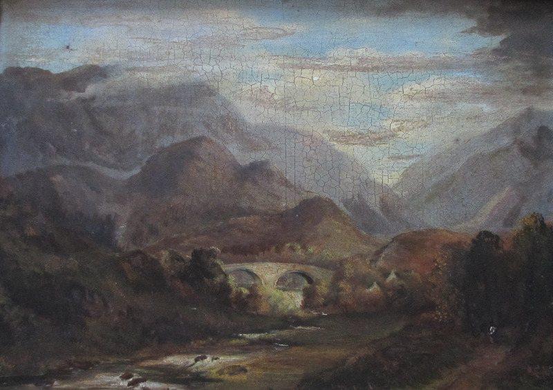 Welsh Landscape with Bridge, oil on board, signed A. Edwards 1843.