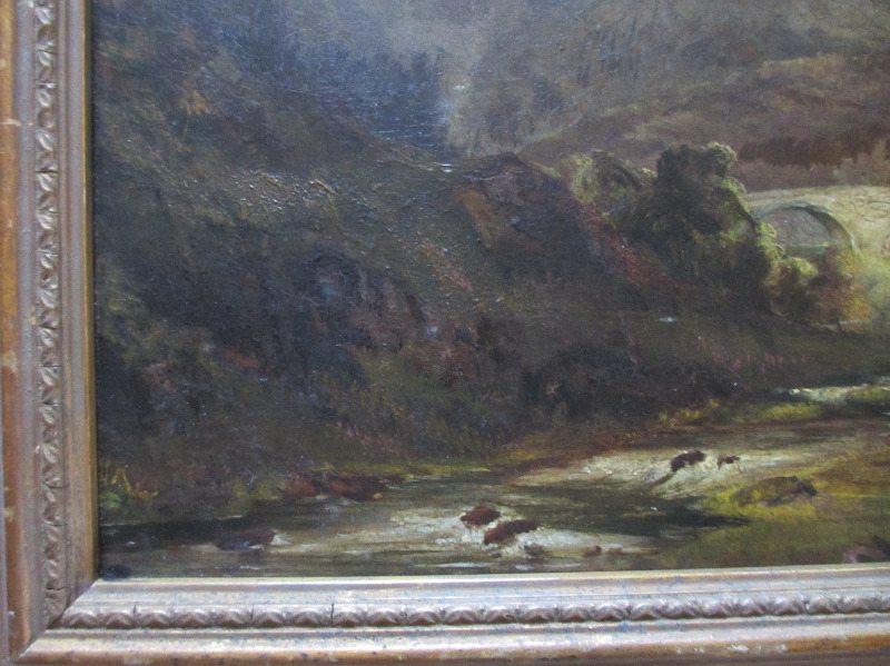 Welsh Landscape, signed A. Edwards, 1843. Detail.