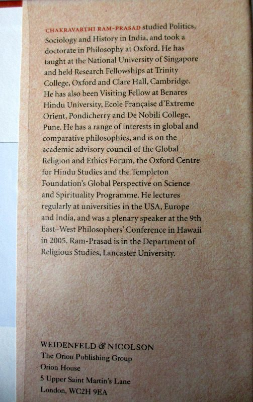 Eastern Philosophy by Chakravarthi Ram-Prasad, 2005. Back fold.