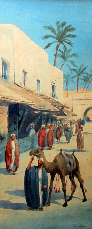 Egyptian Street Scene (3), watercolour on paper, signed Giovanni Barbaro. c1900.