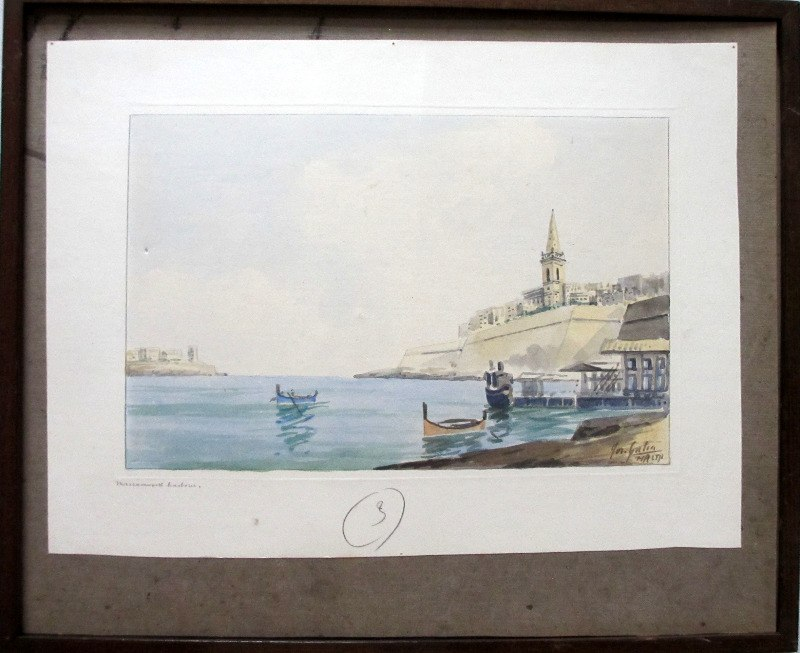 Marsamxett Harbour, watercolour on paper, signed Jos. Galea Malta, c1960.