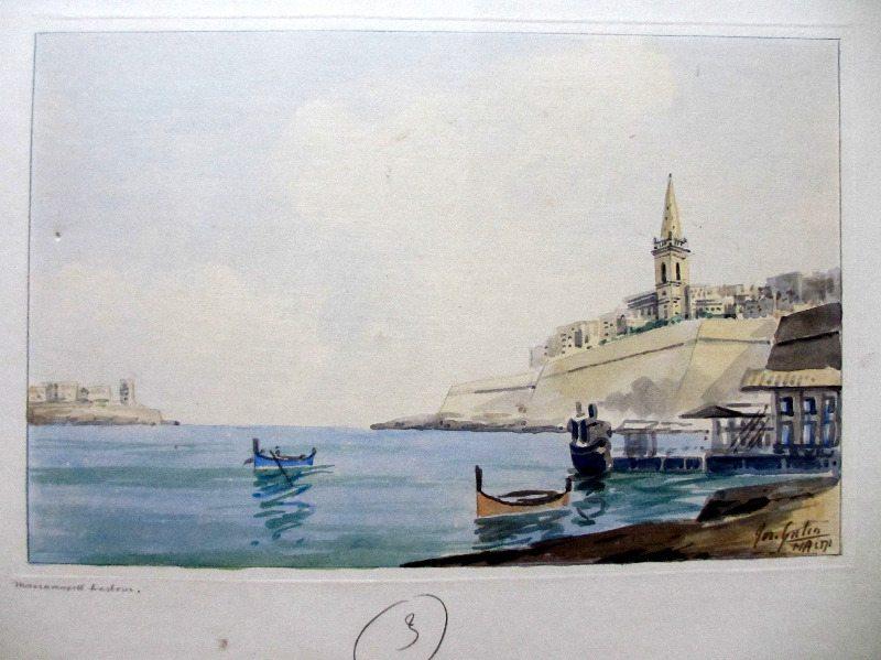 Marsamxett Harbour, signed Jos. Galea, c1960.