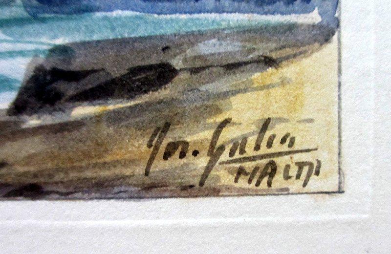 Marsamxett Harbour, watercolour, signed Jos. Galea, c1960. Signature.