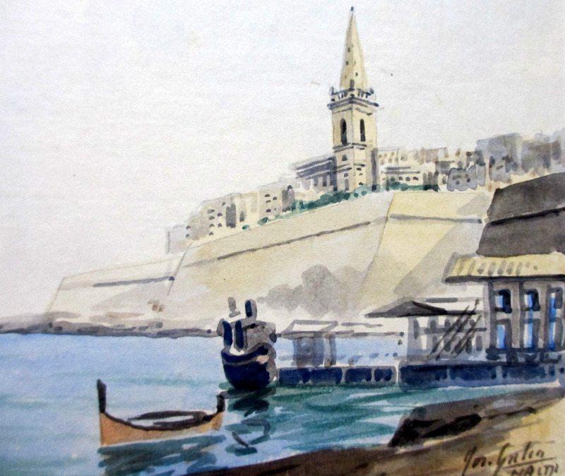 Marsamxett Harbour signed Jos. Galea, c1960. Detail.