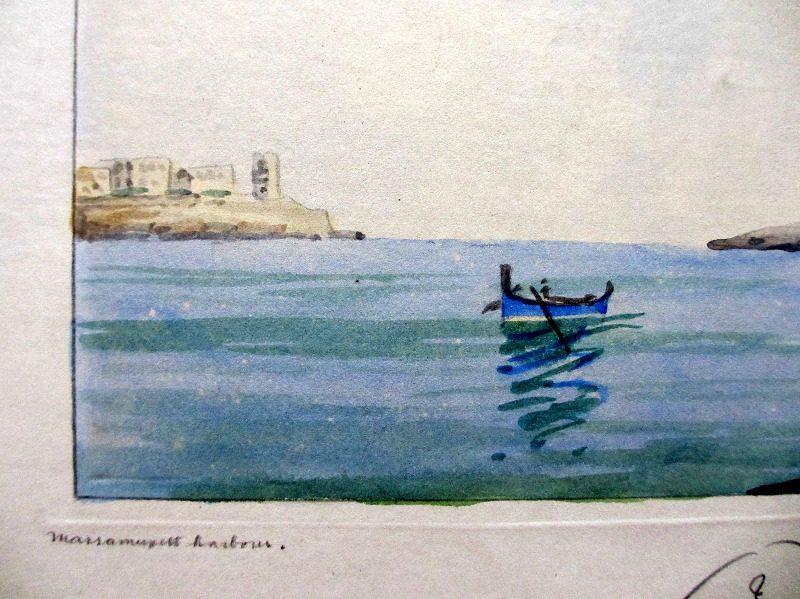 Marsamuxett Harbour, signed Jos. Galea, c1960. Detail, title.
