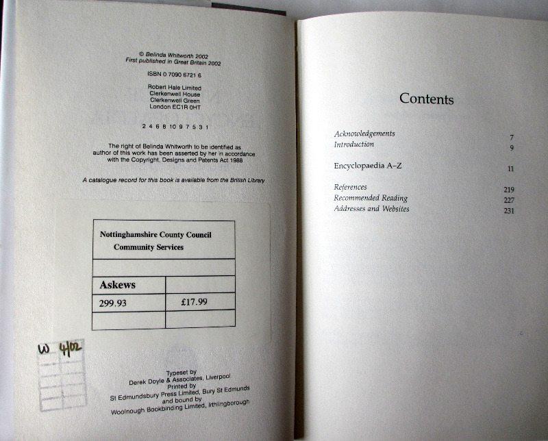 New Age Encyclopaedia by Belinda Whitworth, 2002.