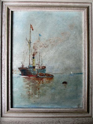 Oil Painting Signed With A Anchor