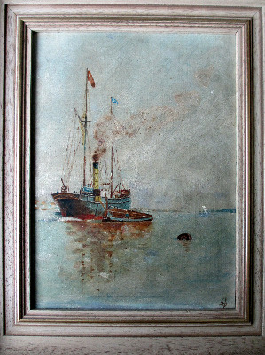 Steamship at anchor discharging to lighter, oil on board, signed monogram D