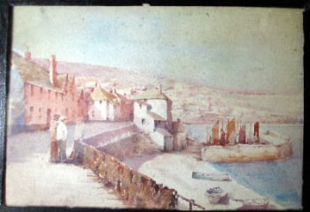Newlyn, Cornwall, watercolour on Whatman's board, unsigned (attributed to T.H. Victor), c1920.  SOLD  17.08.2014.