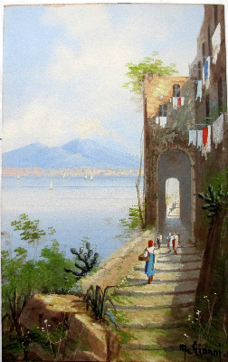 Coastal View, Bay of Naples, with Vesuvius, gouache on paper, signed M. Gia