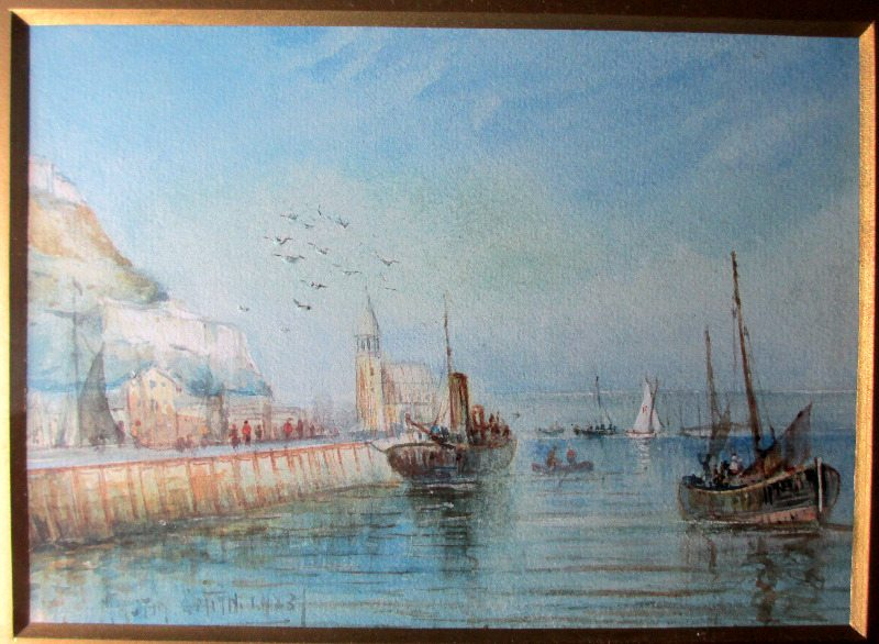 The Harbour, Scarborough, watercolour, signed Austin Smith, 1923.