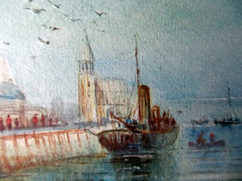 The Harbour, Scarborough, watercolour, signed Austin Smith, 1923. Detail.