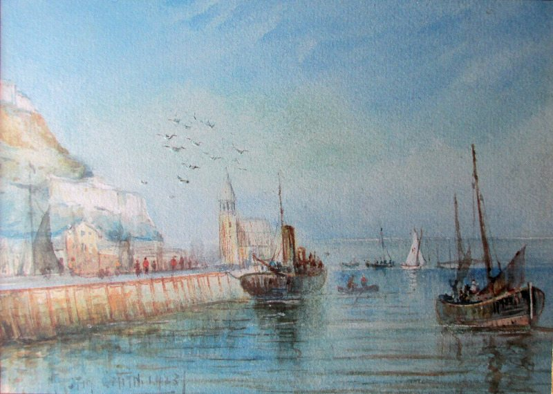 The Harbour, Scarborough, watercolour on paper, signed Austin Smith, 1923.