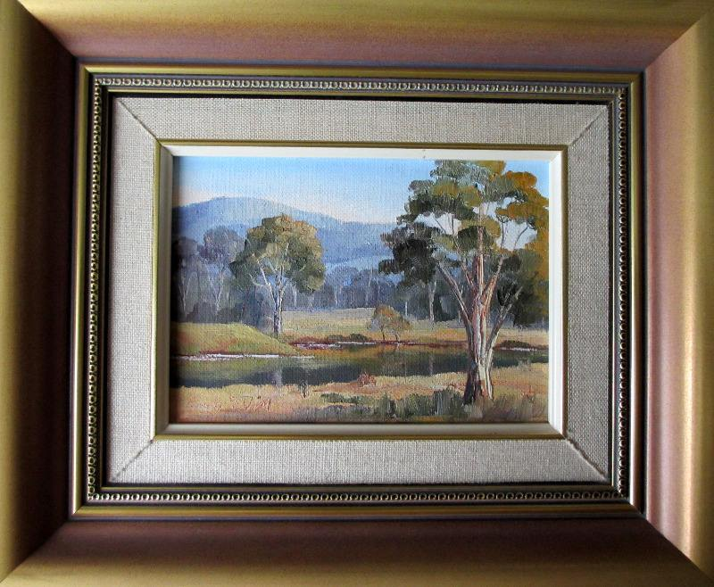 Blue Hills, oil on board, signed Evelyn Hills, c1980.