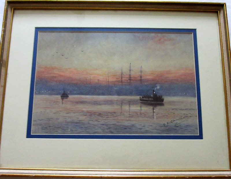Steam Ferry Boats passing on River, watercolour on paper, signed G.E. Glennie, 1914.