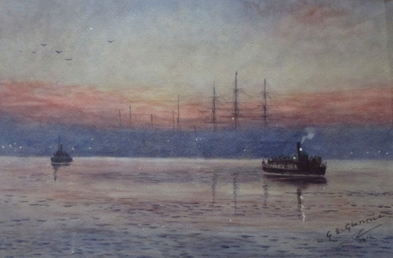 Steam Ferry Boats Passing on the River, watercolour, signed G.E. Glennie, 1914.