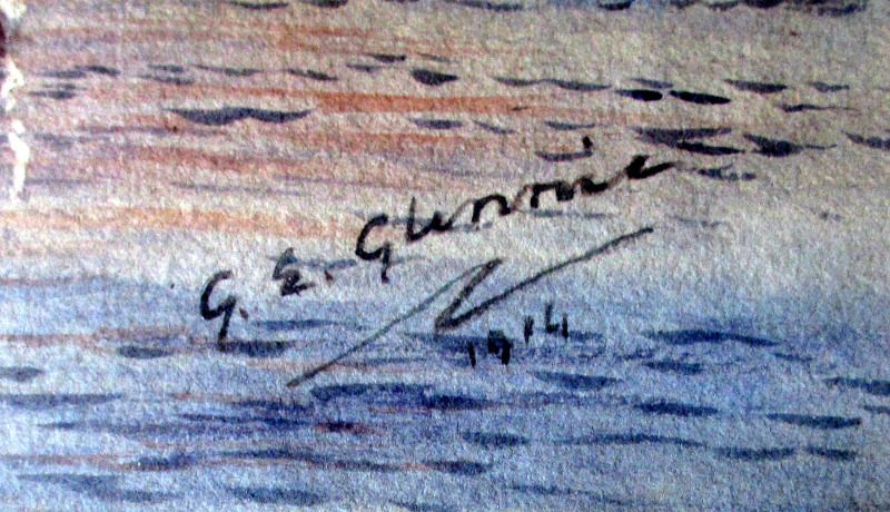 Steam Ferry Boats Passing on the River, signed G.E. Glennie, 1914. Signature.
