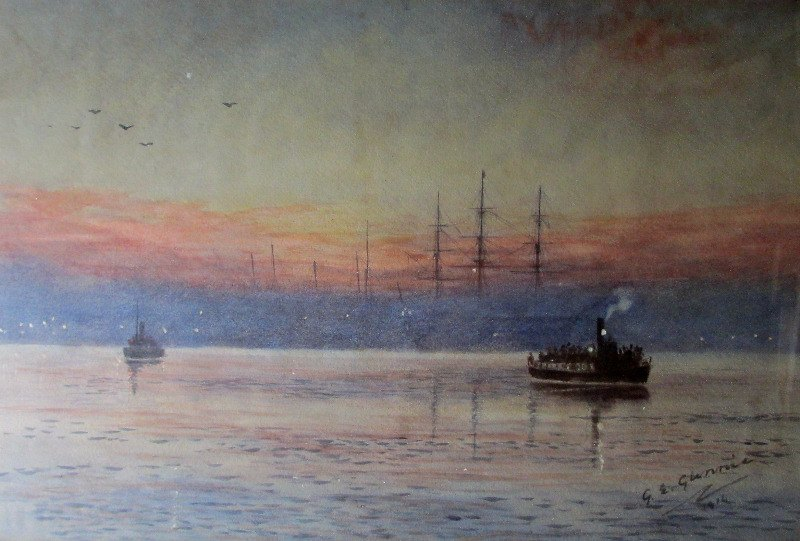 Steam Ferry Boats Passing on the River, signed G.E. Glennie, 1914. Detail.