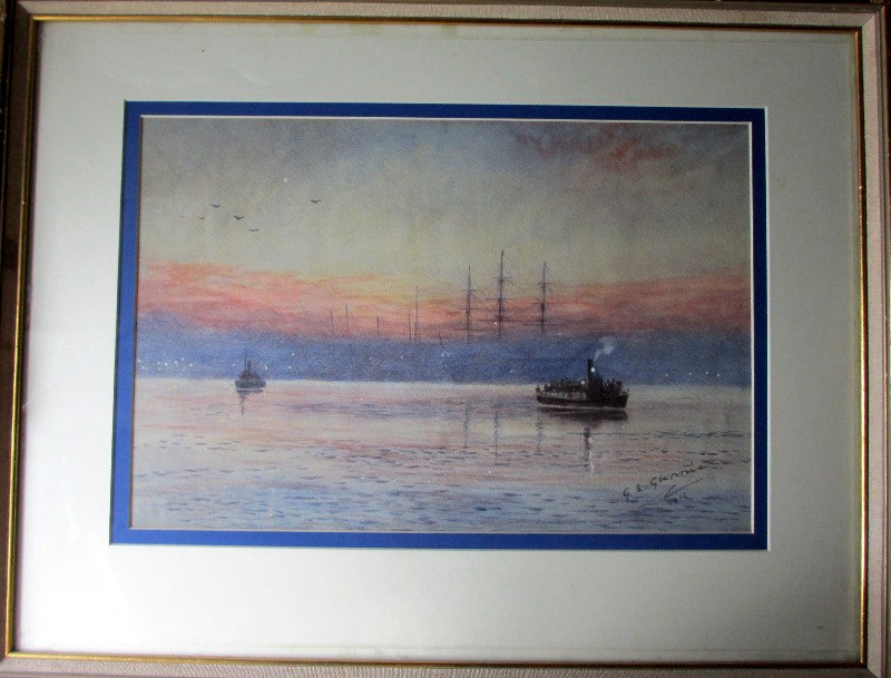 Steam Ferry Boats Passing on the River, signed G.E. Glennie, 1914.