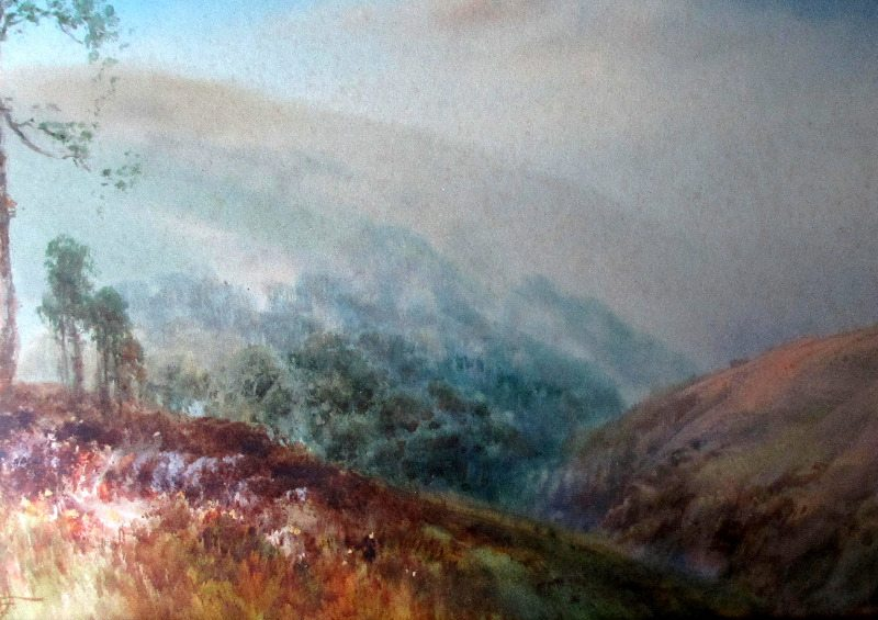 West Country Moorland Landscape, signed W.H. Sweet, detail.