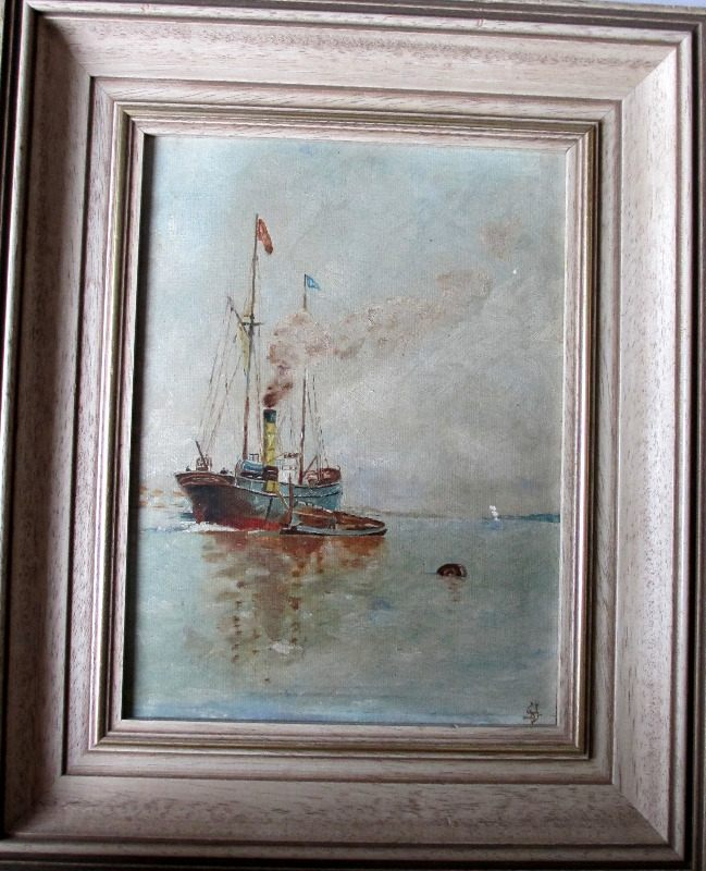 Steamship at Anchor Discharging to lighter, oil on board, signed monogram YD, c1920.