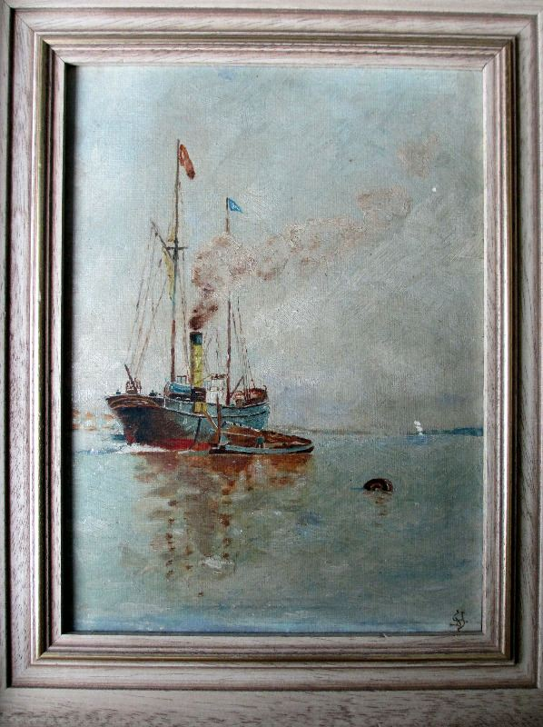 Steamship at Anchor Discharging to Lighter, oil on board, signed YD, c1920.