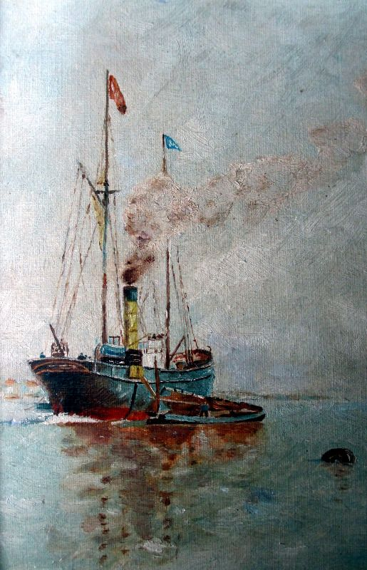 Steamship at anchor, signed YD, c1920.
