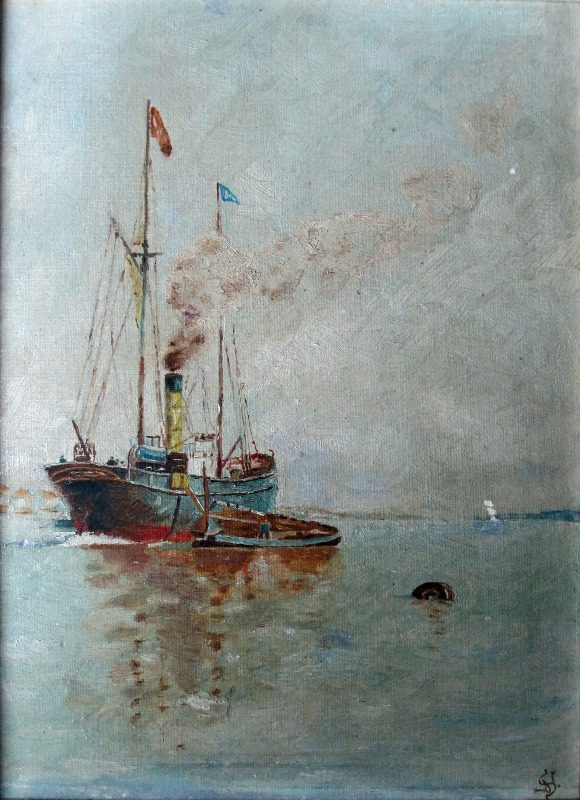 Steamship at Anchor Discharging to Lighter, oil on board, signed Monogram, c1920.