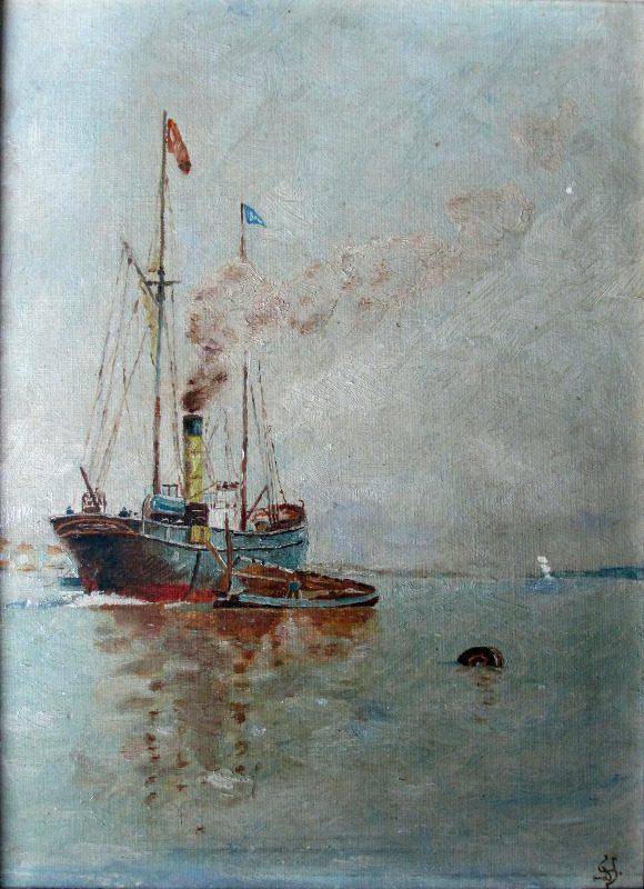 Steamship at Anchor Discharging to Lighter, oil on board, signed Monogram, c1920.