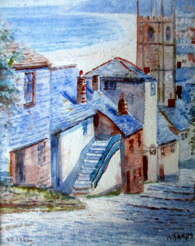 St. Ives, watercolour, signed W. Sands, c1920. Detail.