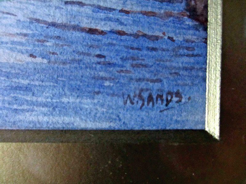 St. Ives, watercolour, signed W. Sands. Detail, signature.