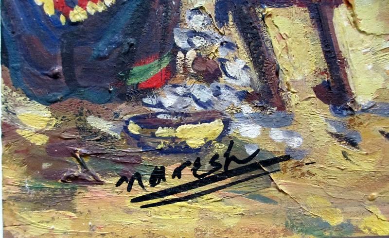 Fishermen's Village, gouache, signed Naresh, c1965.