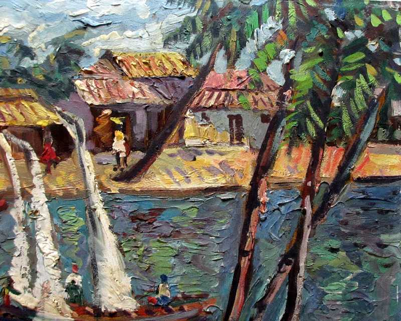 Fishermen's Village, signed Naresh.
