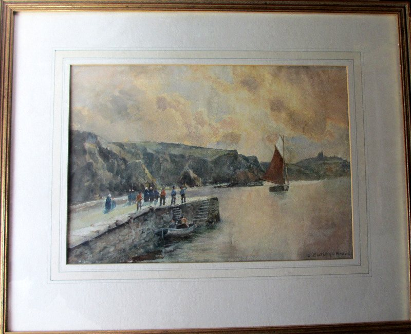 Here she comes, watercolour, signed L Burleigh Bruhl, c1920.