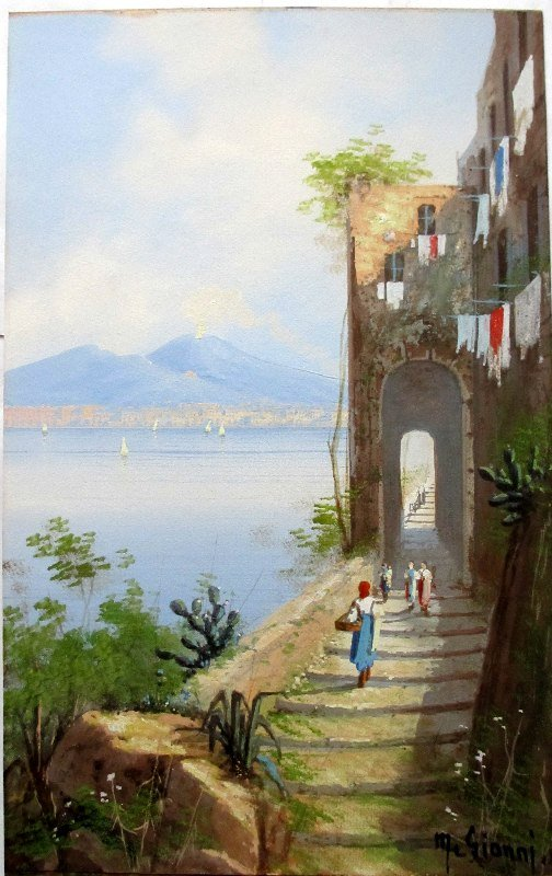 Coastal View, Bay of Naples, gouache, signed M. Gianni. c1900.