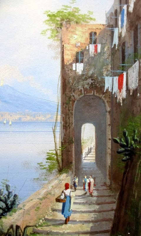 Coastal View, Bay of Naples, signed M. Gianni.