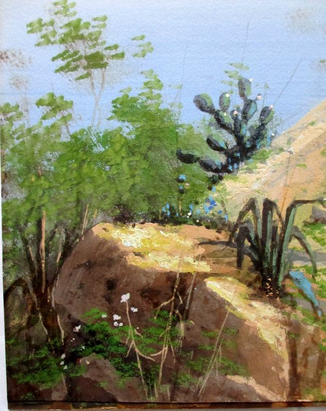Coastal View, signed M. Gianni. Detail.