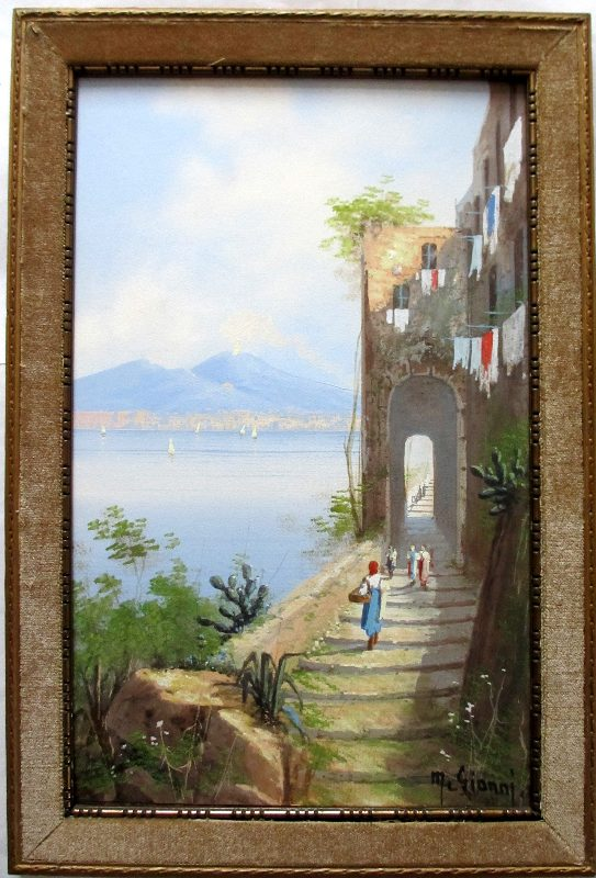 Coastal View, M. Gianni. Framed painting in situ.