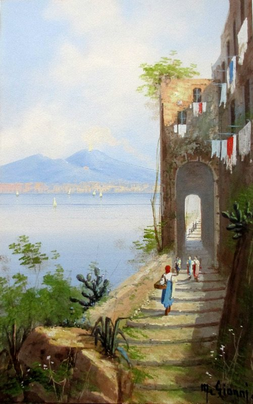 Coastal View, Bay of Naples, with Mt. Vesuvius, gouache on paper, signed M. Gianni, c1900.