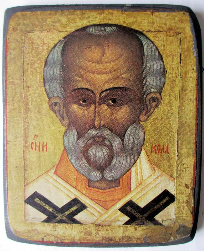 Saint Nicholas Icon, print on  board, Russian Orthodox. c1950.